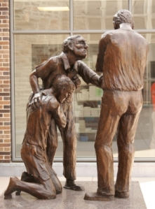 A different angle of the reconciliation statue. Notice the look of concern on the fathers face.
