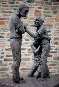 """A Sculpture Titled """"Reconciliation"""" at Duke Divinity School."""