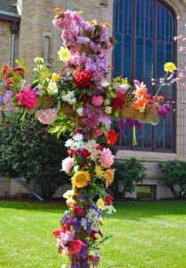 Flowers On The Cross Outside Longview Community Church