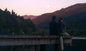 The Moon Rises As The Sun Sets Over Lake Whatcom